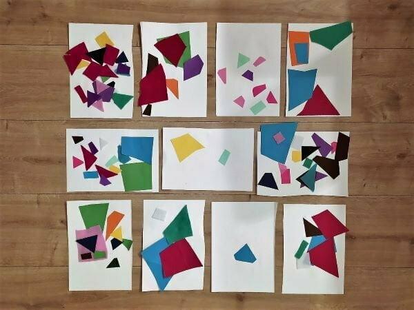 fogli decorati con ritagli di carta colorata